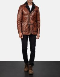 Rocky Brown Fur Leather Coat 2