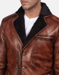 Rocky Brown Fur Leather Coat 6