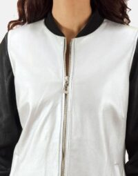 Silver-and-Black-Bomber-Jacket-Zoom-4
