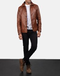 Waffle-Brown-Leather-Jacket-for-men-2