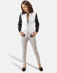 Womens Cole Silver Leather Bomber Jacket 5