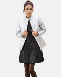 Womens Ice Maiden Silver Quilted Leather Biker Jacket 1
