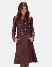 Womens Missoni Maroon Leather Trench Coat 1