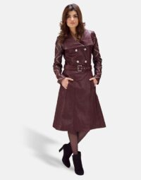 Womens Missoni Maroon Leather Trench Coat 5