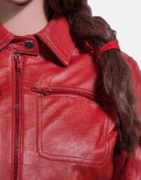 Womens Tomachi Red Leather Jacket 6