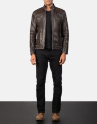 Youngster Brown Leather Biker Jacket 2