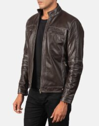Youngster Brown Leather Biker Jacket 3