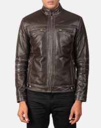 Youngster Brown Leather Biker Jacket 4